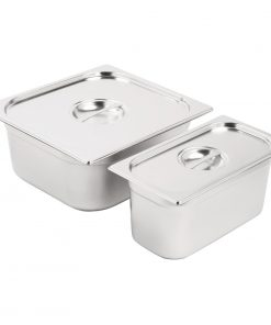 Vogue Stainless Steel Gastronorm Set 1/3 and 2/3 with Lids