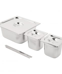 Vogue Stainless Steel Gastronorm Set 2x 1/6 and 2/3 with Lids