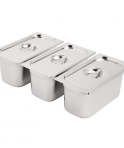 Vogue Stainless Steel Gastronorm Set 3 x 1/3 with Lids