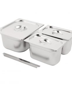 Vogue Stainless Steel Gastronorm Set  1/2 and 2x 1/4 with Lids