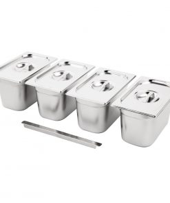 Vogue Stainless Steel Gastronorm Set 4 1/4 with Lids
