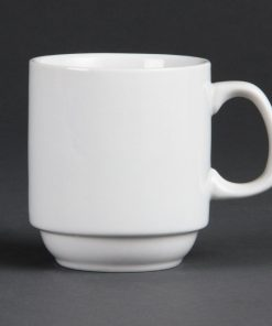 Bulk Buy Pack of 36 Olympia Whiteware Stacking Mugs 284ml 10oz
