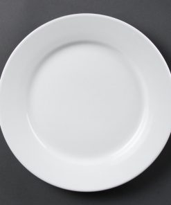 Bulk Buy Pack of 36 Olympia Whiteware Wide Rimmed Plates 250mm