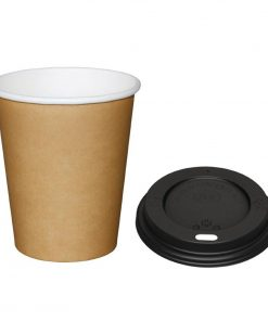 Special Offer  Fiesta Brown 225ml Hot Cups and Black Lids