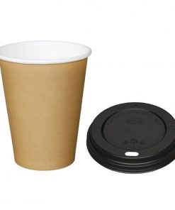 Special Offer  Fiesta Brown 340ml Hot Cups and Black Lids