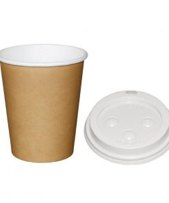 Special Offer  Fiesta Brown 225ml Hot Cups and White Lids
