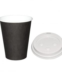 Special Offer  Fiesta Black 340ml Hot Cups and White Lids