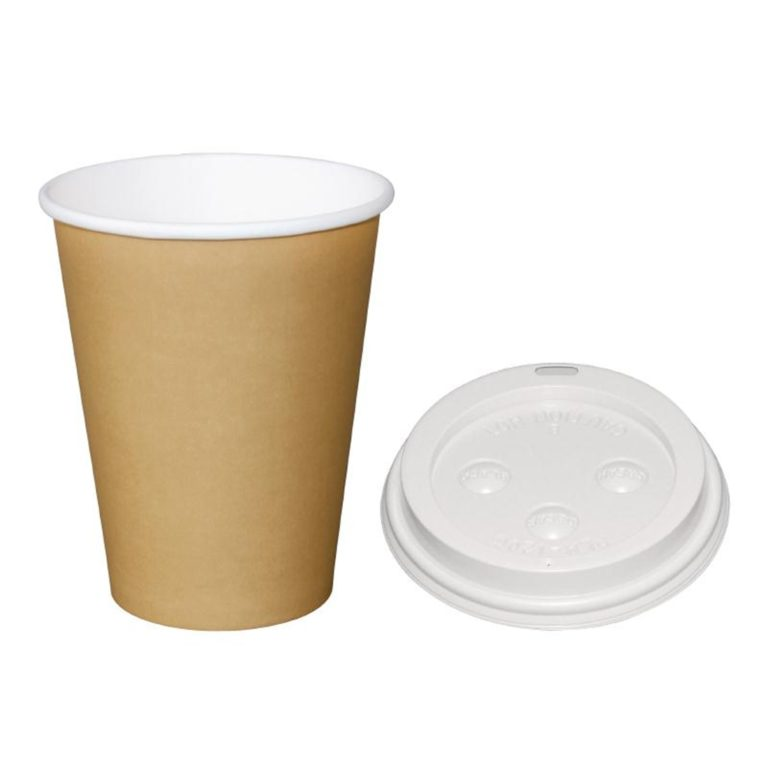 Special Offer  Fiesta Brown 340ml Hot Cups and White Lids
