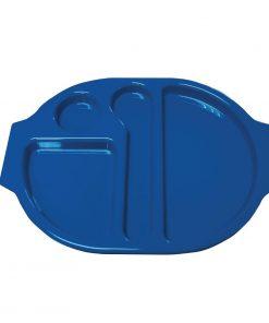 Kristallon Plastic Food Compartment Tray Large Blue