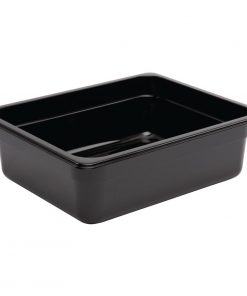Vogue Polycarbonate 1/2 Gastronorm Container 100mm Black