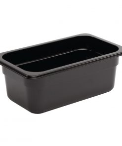 Vogue Polycarbonate 1/4 Gastronorm Container 100mm Black