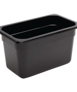 Vogue Polycarbonate 1/4 Gastronorm Container 150mm Black