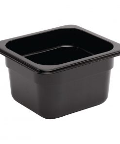 Vogue Polycarbonate 1/6 Gastronorm Container 100mm Black