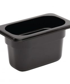 Vogue Polycarbonate 1/9 Gastronorm Container 100mm Black