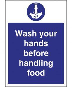 Vogue Wash hands Before Handling Food Sign
