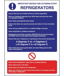 Vogue Refrigerator Guidelines Sign